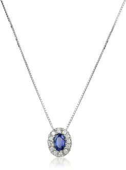 Designer Necklaces, Diamond and Sapphire Round 18K Gold Pendant Necklace