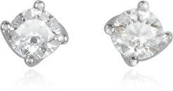 Designer Earrings, 0.37 ctw Diamond Flower 18K White Gold Stud Earrings