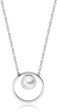 Designer Necklaces, Agnethe Silver-Tone Pearl Pendant Necklace