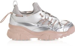 Designer Shoes, Cumino 2 Silver & Pink Leather Women's Sneakers