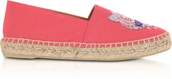 Designer Shoes, Coral Canvas Tiger Head Embroidery Special Fit Espadrilles