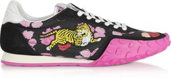 Designer Shoes, Black and Fuchsia Kenzo Move Women's Sneakers