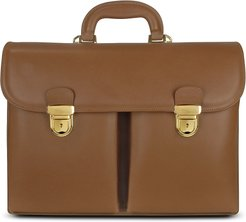 Designer Briefcases, Men's Front-pocket Tan Brown Italian Leather Briefcase