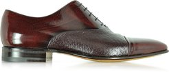 Designer Shoes, Digione Burgundy Peccary and Calf Leather Oxford Shoes