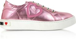 Designer Shoes, Pink Laminated Nappa Leather Women's Sneakers