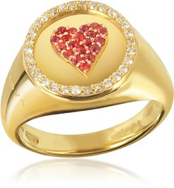 Designer Rings, 18K Yellow Gold, 0.10 ctw Sunset Sapphire & 0.15 ctw Diamonds Queen of Heart Pinky Ring
