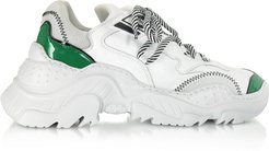 Designer Shoes, White & Patent Green Leather Sneakers