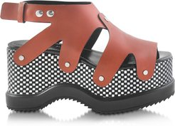 Designer Shoes, Nappa Leather Sandal w/Optical Print Wedge
