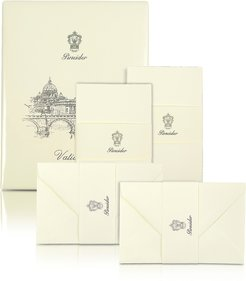Designer Writing Instruments, Vaticano - 25 Ivory Deckle-Edged Note Cards
