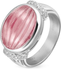 Designer Rings, Carved Pink Rubellith and Diamond 18K Gold Ring