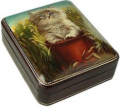 Designer Jewelry Boxes, Persian Kitty - Oil on Leather Jewelry Box