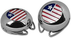 Designer Button Covers, Silver Plated Star and Stripes Button Covers