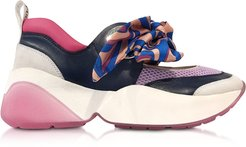 Designer Shoes, Multicolor Bow Blue and Lilac Sneakers