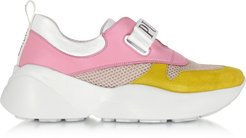 Designer Shoes, Pink & Lime Green Leather and Nylon Sneakers