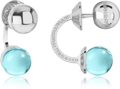 Designer Earrings, Boulevard Stone Rhodium Over Bronze Double Ball Drop Earrings w/Turquoise Hydrothermal Stone