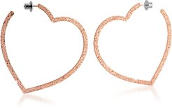 Designer Earrings, R-ZERO Rose Gold Over Bronze Heart Earrings