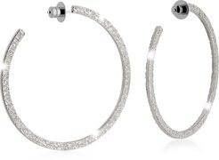 Designer Earrings, R-ZERO Rhodium Over Bronze Hoop Earrings