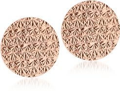 Designer Earrings, R-ZERO Rose Gold Over Bronze Round Earrings