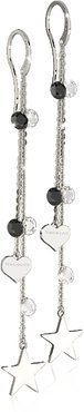 Designer Earrings, Lucciole Sterling Silver Earrings w/Black Crystals
