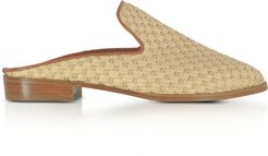 Designer Shoes, Aliceop Natural Woven Raffia and Terracotta Brown Leather Flat Mules
