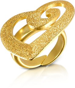 Designer Rings, Golden Silver Etched Cut Out Heart Ring