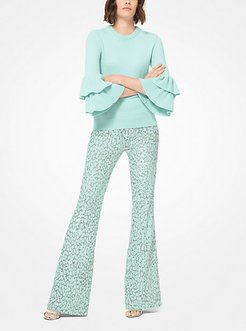 Leopard Sequined Stretch-Tulle Flared Pants