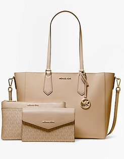 Kimberly Large Pebbled Leather and Logo 3-in-1 Tote Bag Set