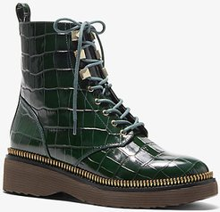 Haskell Crocodile Embossed Leather Combat Boot