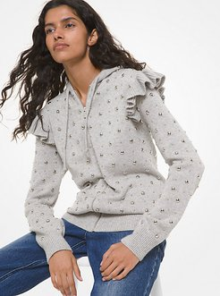 Studded Cashmere Zip-Up Hoodie