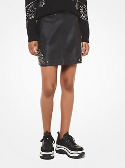 Paisley Grommeted Leather Skirt