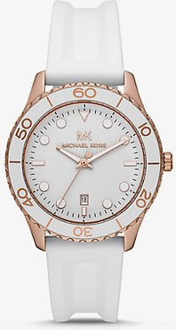 Oversized Runway Dive Rose Gold-Tone and Silicone Watch