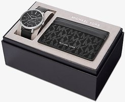 Blake Leather Watch and Logo Card Case Set