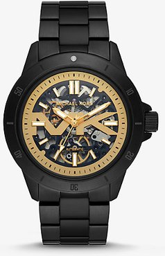 Bayville Black-Tone and Silicone Skeleton Watch