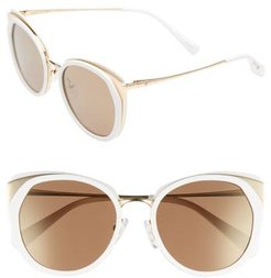 Blanc & Eclare Istanbul 55Mm Polarized Cat Eye Sunglasses - Snow/ Gold/ Solid Gold Mirror