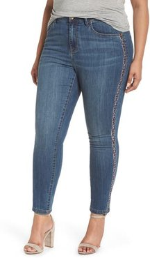 Plus Size Women's Seven7 Embroidered Side Skinny Jeans, Size 22W - Grey