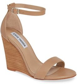 Mary Ankle Strap Wedge, Size 6.5 M - Beige