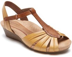 Hollywood Pleat Wedge Sandal, Size 7.5 M - Yellow