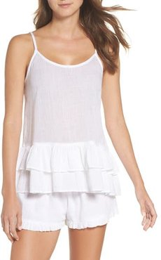 Chloe Ruffle Sleep Tank, Size Medium - White