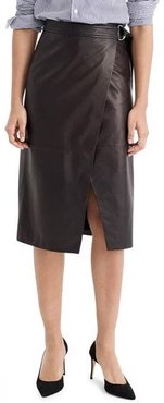 Collection Leather Wrap Pencil Skirt, Size 12 - Black
