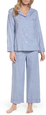 Washed Cotton Pajamas, Size Large - Blue
