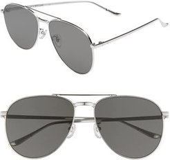 Blanc & Eclare Miami 61Mm Large Polarized Aviator Sunglasses - Silver/ Grey