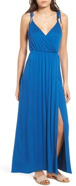 Faux Wrap Maxi Dress, Size X-Small - Blue