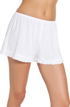 Cambria Ruffle Sleep Shorts, Size Small - White
