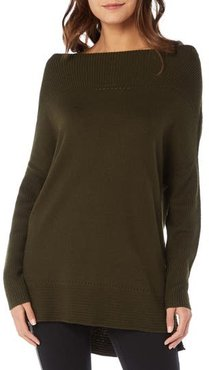 Open Neck Cashmere Blend Tunic, Size X-Small - Green