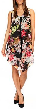 Neon Tropical Overlay Shift Dress, Size 6 US / 10 UK - Black