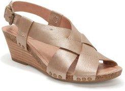 Adam Tucker Tarin Wedge Sandal, Size 6 M - Metallic