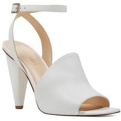 Quilty Ankle Strap Sandal, Size 6.5 M - White