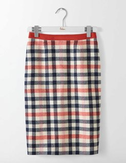 British Tweed Pencil Skirt Pink and Melon Crush Check Women Boden