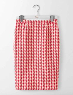 Freya Pencil Skirt Red and Pink Check Women Boden