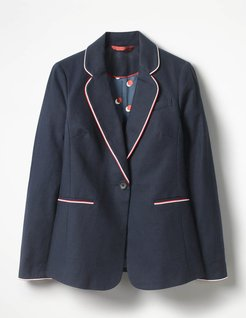 Lilah Cotton Blazer Navy Women Boden
